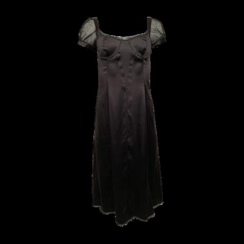 Vintage Black Satin Bustier Bodice Dress