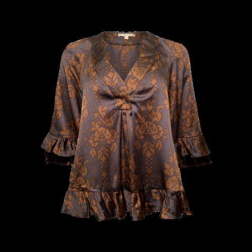 Nanette Lepore Floral Motif Ruffle Sleeve Blouse