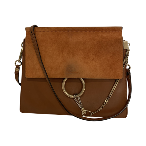 Chloé Medium Brown Faye Leather and Suede Shoulder Bag