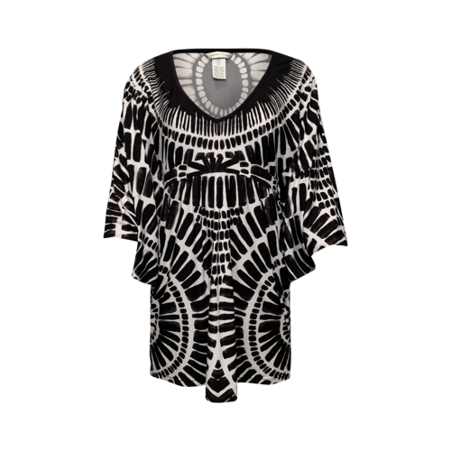 Trina Turk Black and White Ikat Print Tunic