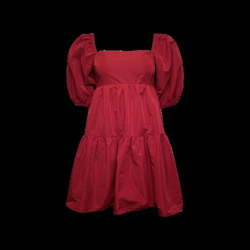 Amanda Uprichard Red Puffy Sleeve Dress