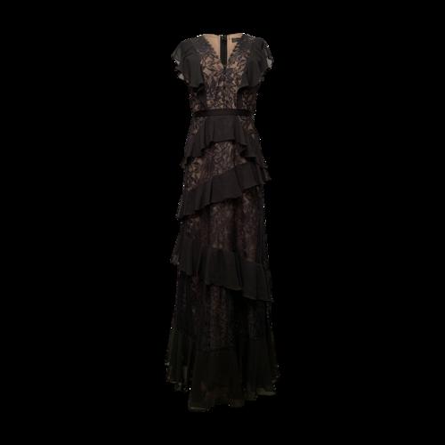 "BCBGMAXAZRIA Black and Nude ""Valerya"" Tiered Gown"