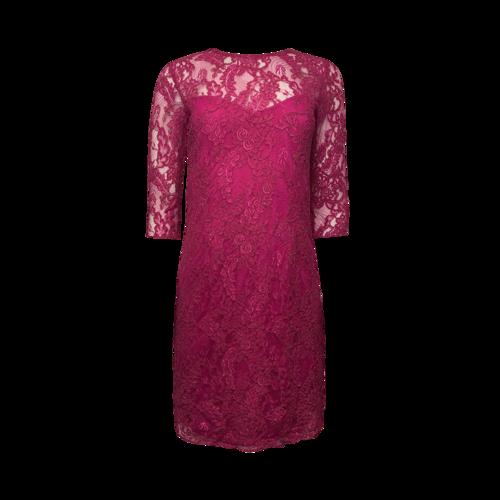 Carmen Marc Valvo Fuschia Lace Overlay Dress
