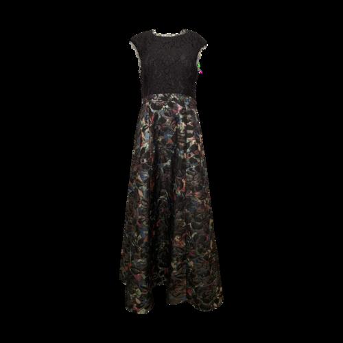 Aidan Mattox Black Lace Bodice Gown w/ Floral Skirt