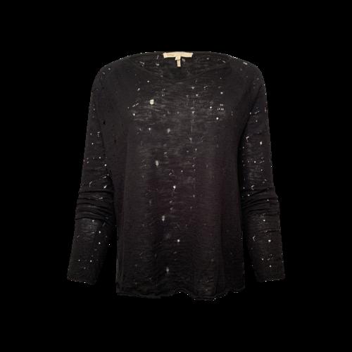 Maje Black Distressed Linen Sweater