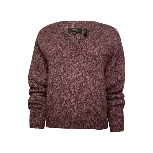 """Theory """"Marl"""" V Neck Sweater in Mulberry"""