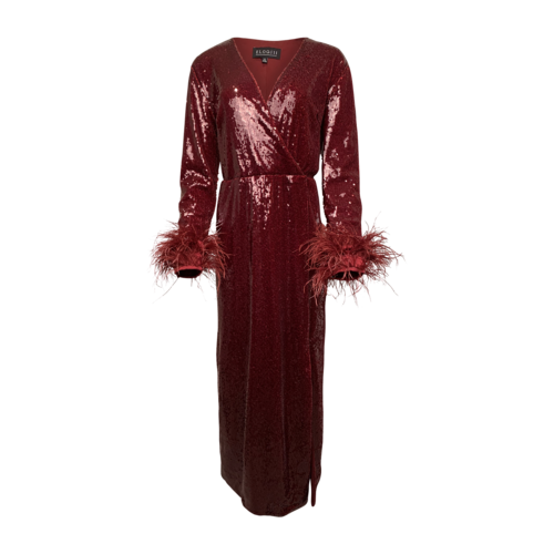 Eloquii Burgundy Sequins and Feathers Dress