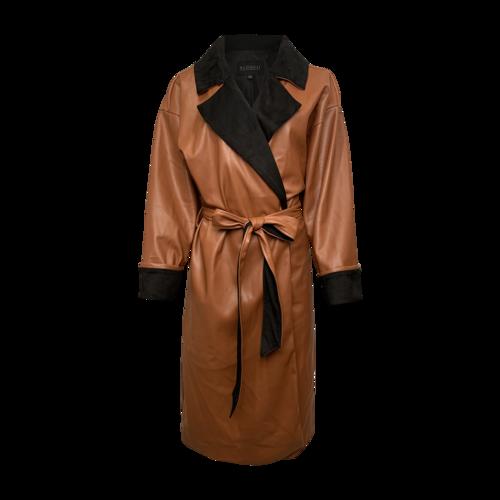 Eloquii Tan and Black Vegan Leather Wrap Coat