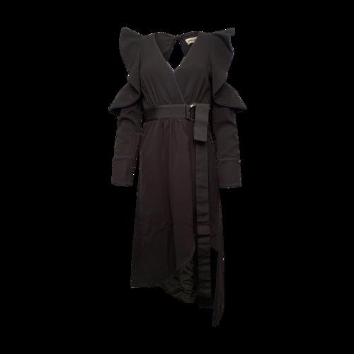 Self-Portrait Asymmetric Belted Faux-Wrap Crepe Dress w/ Cutouts
