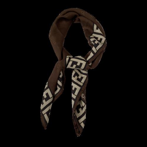 Fendi Logo Print Silk Scarf