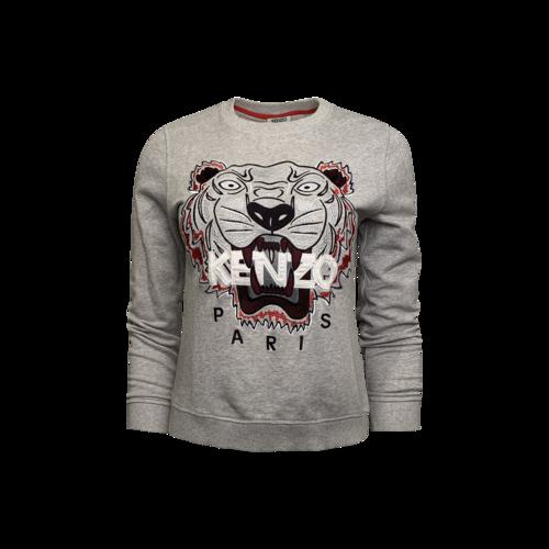 Kenzo Grey Light Brushed Cotton Tiger Sweatshirt