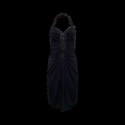 BCBGMAXAZRIA Black Embellished Halter Dress