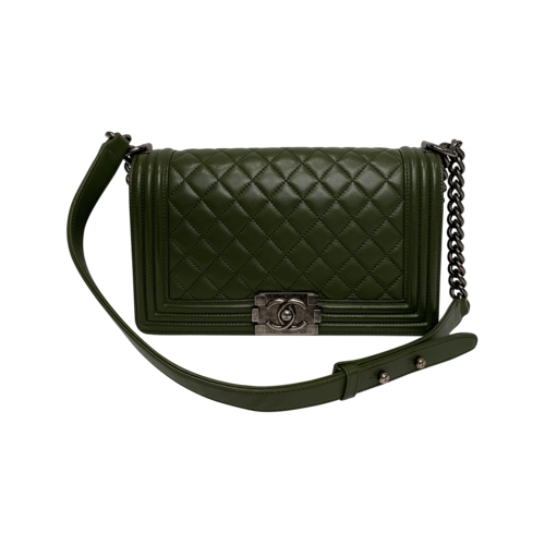 CHANEL Green Boy Quilted Bag