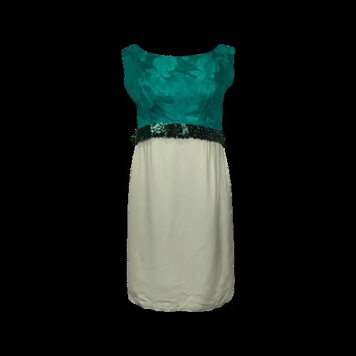Vintage Green Floral and Sequin Vintage Dress