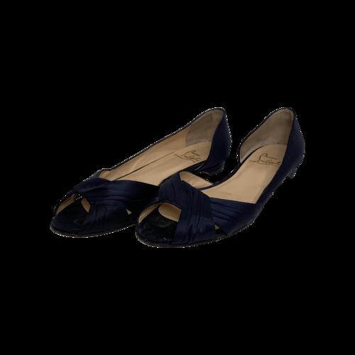 Christian Louboutin Navy Blue Satin Peep Toe Flats