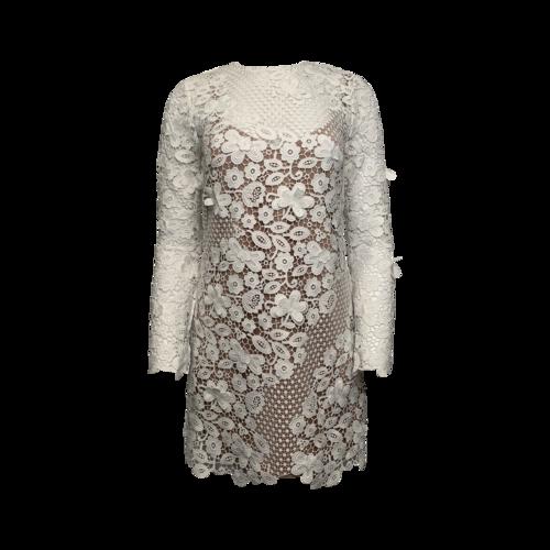 Self-Portrait White 3D Floral Mini Dress