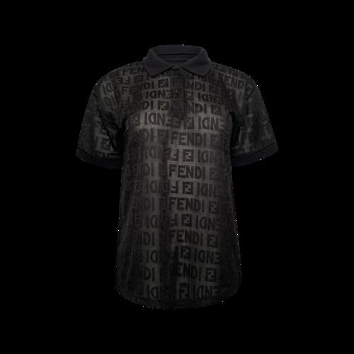 Fendi Black Fendi Logo Polo Shirt