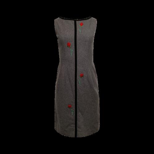 Vintage Grey Dress w/ Felt Roses