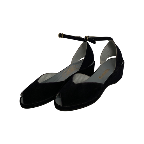 Vintage Mel Preston Blue Suede Peep Toe Sandals