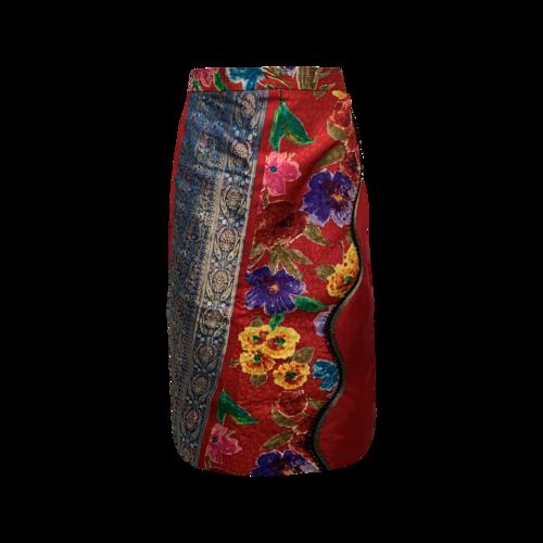 Koos Van Den Akker Red Patchwork Floral Skirt