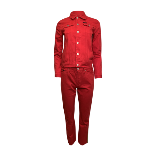 Calvin Klein 2-PIece Red Cropped Jean Jacket and Pants