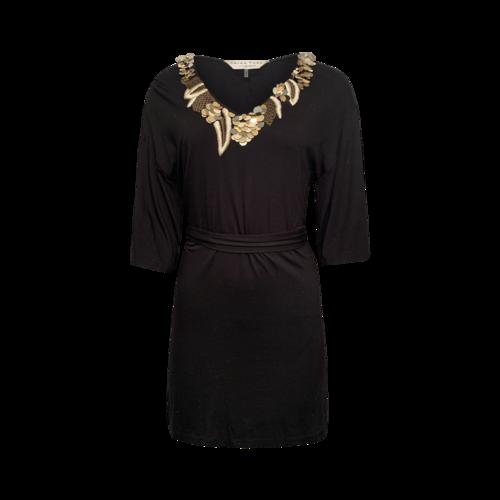 Trina Turk Black Embroidered and Embellished Dress