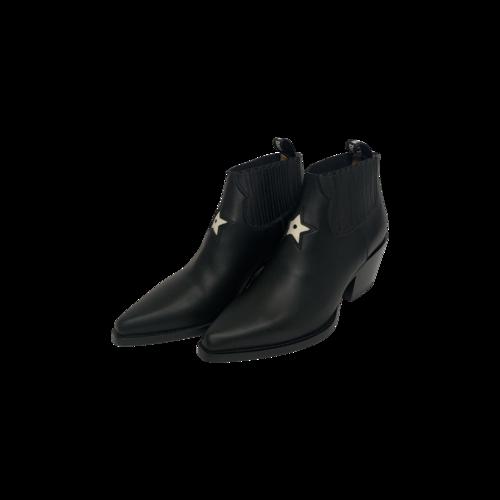 Dior Black Star Leather Block Heels
