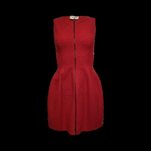 Alaïa Red Structured Front Zip Dress
