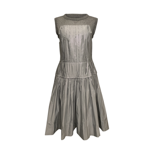 Louis Vuitton Grey Jersey and Silk Pleated Dress