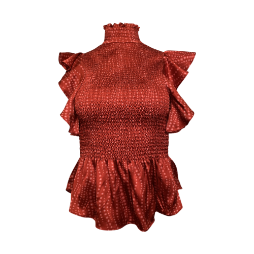 Cinq à Sept Red Floral Ruffle Sleeve Top