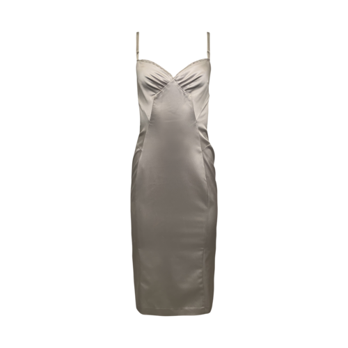 Dolce & Gabbana Silver Satin Boudoir Dress