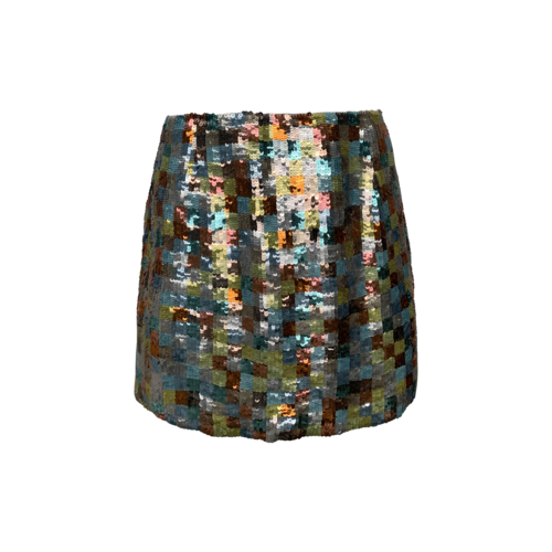 French Connection Multi-Color Tile Sequin Mini Skirt
