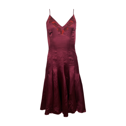 Betsey Johnson Wine Red High-Low Embroidered Dress
