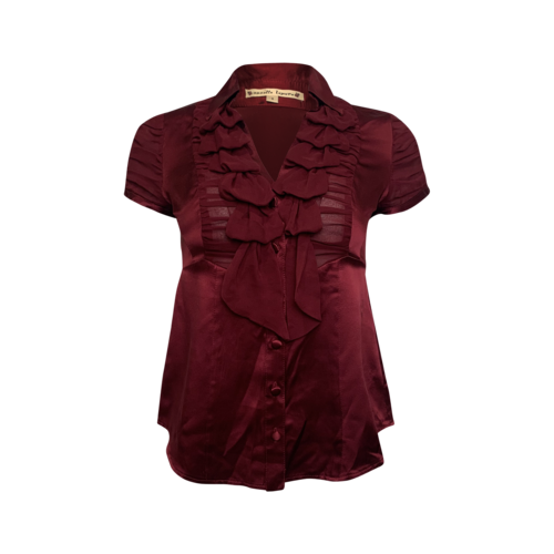 Nanette Lepore Red Silk Front Ruffle Top