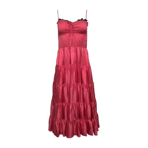 Betsey Johnson Pink Ruched Top Tiered Dress