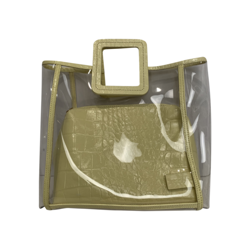 """STAUD Clear """"Shirley"""" Bag w/ Yellow Embossed Pouch"""