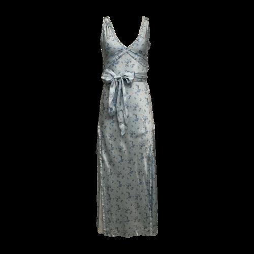 "Love Shack Fancy ""Kendall"" Floral-Print Silk Satin Maxi Dress"