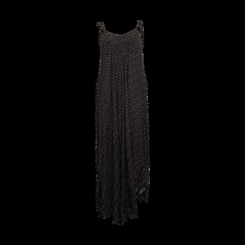 Malia Mills Black and White Polka Dot Shirred Maxi Dress