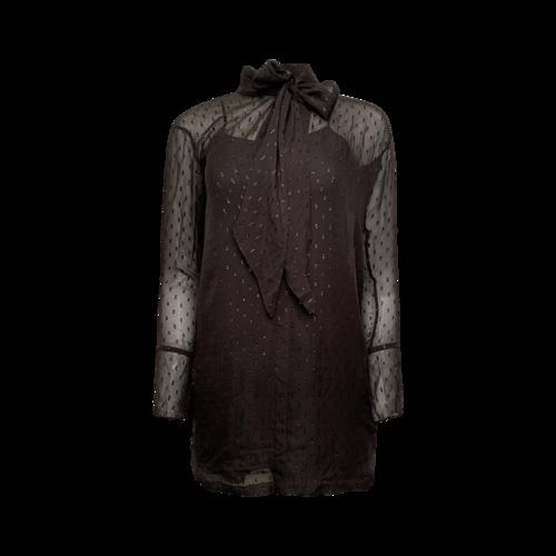 Theory Black Shiny Illusion Tie Neck Shift Dress