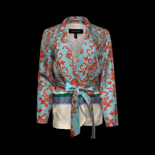 Escada Printed Tie Front Silk Jacket