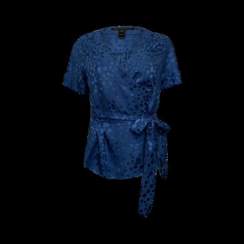 Marc Jacobs Blue Cherry Print Wrap Top