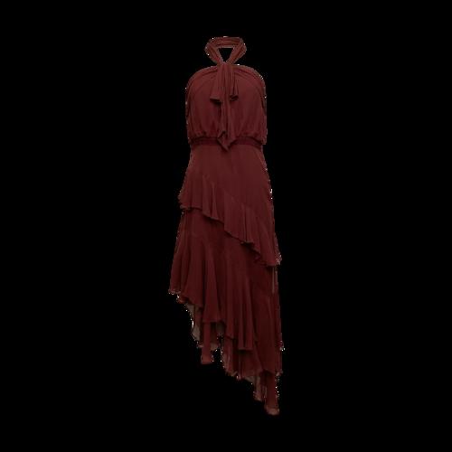 Cinq à Sept Burgundy Silk Halter Tiered Gown