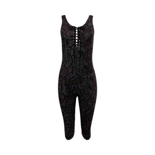 Betsey Johnson Snakeprint Front Corset Tie Jumpsuit