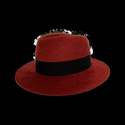 Yves Saint Laurent Red Wide Brim Felt Hat