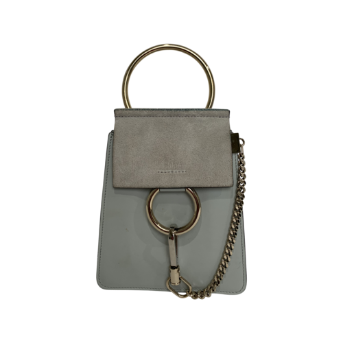 """Chloé """"Faye"""" Small Suede and Leather Bracelet Bag in Airy Grey"""