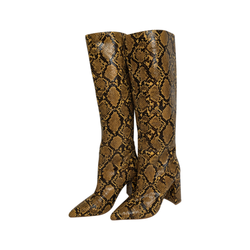 Jeffrey Campbell Yellow Faux Snake Skin Boots