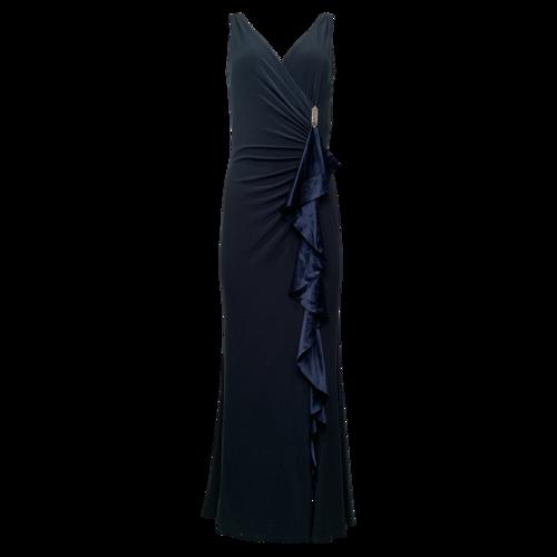 Ralph Lauren Navy Blue Front Ruffle Gown