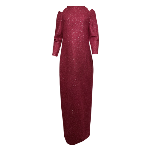St. John Pink Luxe Sequin High-Neck Long Sleeve Gown w/ Shoulder Cutouts