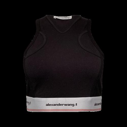 Alexander Wang Black Rib Jsybra Top w/ Logo Elastic