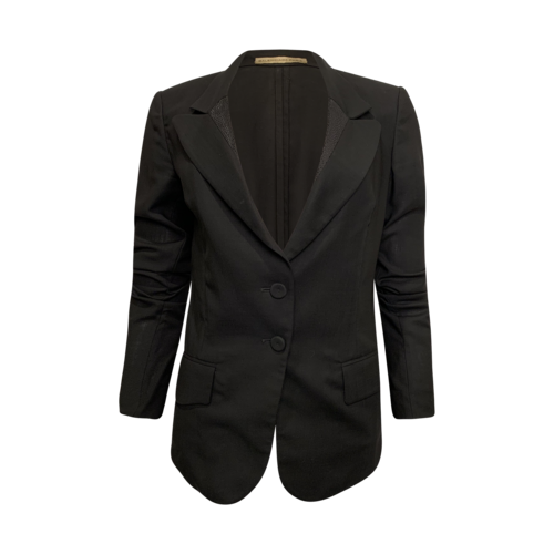 Balenciaga Black Patterned Lapel Blazer
